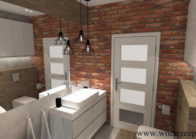 Łazienka, Bydgoszcz, połączenie betonu, drewna i cegły